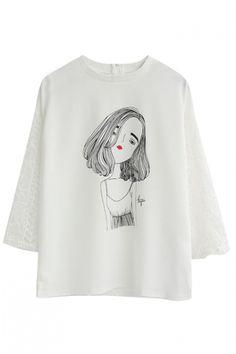 Girl Portrait Print Round Neck 3/4 Length Sleeve Lace Crochet Tee