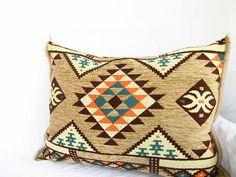 Wowen Pillow // Taupe Woven pillow // Lumbar pillow // Decorative pillow cover //Ottoman Kilim pillow