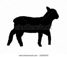 Black silhouette of a lamb on white - stock vector