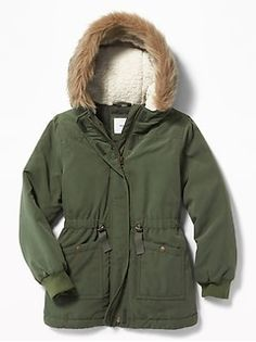 Hooded Faux-Fur Trim Parka for Girls Shop Old Navy, Sherpa Lined, Maternity Wear, Fur Trim, Parka, Military Jacket, Faux Fur, Hoods, Raincoat