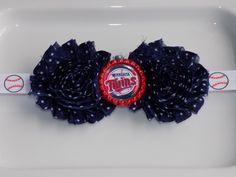 MLB Minnesota Twins, navy blue with white polka dots shabby chiffon flowers baseball print headband, or hair-clip. Babies/Girls/Teens/Women by momsbowtiqueprincess on Etsy https://www.etsy.com/listing/226817069/mlb-minnesota-twins-navy-blue-with-white