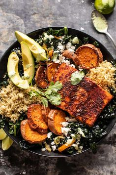 Sheet Pan Chipotle Salmon with Cilantro Lime Special Sauce. Sheet Pan Chipotle Salmon with Cilantro Salmon Recipes, Fish Recipes, Seafood Recipes, Cooking Recipes, Healthy Recipes, Mexican Recipes, Healthy Food, Dinner Recipes, Salmon And Sweet Potato