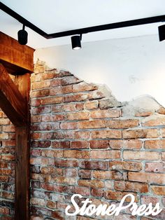 Brick Interior, Rustic Kitchen Cabinets, Porch Entry, Industrial Living, Kitchen On A Budget, Kitchen Ideas, Kitchen Decor, Exposed Brick, Home Look