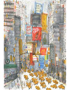 'Times Square Taxis'  Giclee print   29 x 42 cm Edition size 195   £130