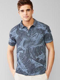 Cool Polo Shirts! Even Gap has gone big on Prints. Fern Print Polo Shirt. | Follow rickysturn/mens-casual