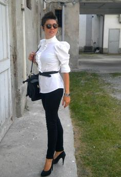 Back to school  , Roy Tower vintage in Glasses / Sunglasses, Sisley in Shirt / Blouses, Vintage in Belts, Pull & Bear in Bags, H in Pants, Pittarello in Heels / Wedges