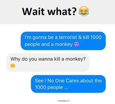 Funny Text About People vs. Monkeys <<<Sorta funny but. Funny Texts Jokes, Text Jokes, Funny Text Fails, Funny Text Messages, Crazy Funny Memes, Really Funny Memes, Stupid Funny Memes, Funny Relatable Memes, Haha Funny