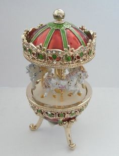 Merry Go Round Carousel MUSIC BOX Austrian Crystals White Dancing Horses Vintage Antique Style Pewter