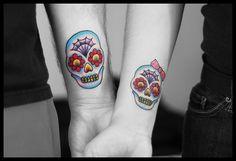 Lovers. Dia de los muertos boy and girl tattoos.