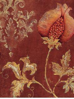 Japanese Embroidery Tiger Art Print: Chateau Pomegranate Wall Art by Regina-Andrew Design : - Textile Patterns, Textile Design, Wall Patterns, Pomegranate Art, Illustration, Marsala, Fabric Wallpaper, Art Design, Granada