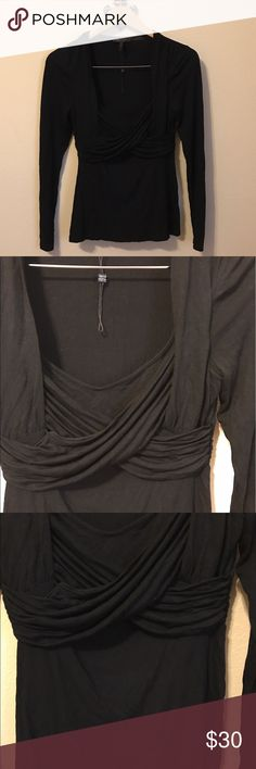 """BCBC MAXAZRIA Black Blouse NWOT Can you say """"Jazzy""""?  This is a top the makes an out fit pop. This form fitting Blouse has gathers all around the waist m/ bodice. Spandex and cotton for stretch fit. Many wear options. A must have piece for that versatile fashionista. BCBGMaxAzria Tops Blouses"""