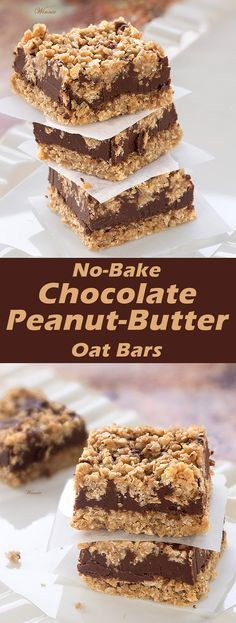 Chocolate, Peanut-butter Oat Bars No-bake, egg-free, gluten-free Chocolate Peanut-butter Oat Bars These delicious bars are super easy-to-make