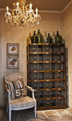 shelves with wire baskets - just like 7th grade gym class...who knew?