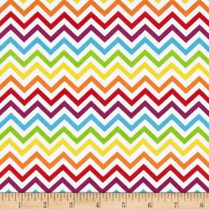 Ups & Downs Chevron White/Multi from @fabricdotcom  Designed for Wilmington Prints, this cotton print is perfect for quilting and craft projects as well as apparel and home decor accents. The chevron stripe is horizontal selvedge to selvedge. Colors include yellow, red, orange,green, turquoise, white and purple.