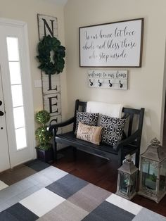Farmhouse entryway! Carpet Stairs, Entryway Bench, Runners, Carpet Runner, Farmhouse, Furniture, Home Decor, Homemade Home Decor, Hall Bench