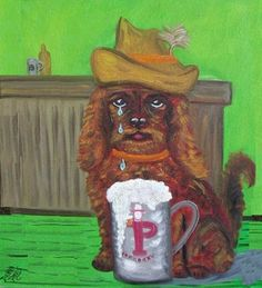 Sad Dog with Hat Crying in Beer Mug Dog Crying, Homemade Beer, Bad Art, Wearing A Hat, How To Make Beer, Art For Art Sake, Beer Brewing, Kitsch, Thrifting