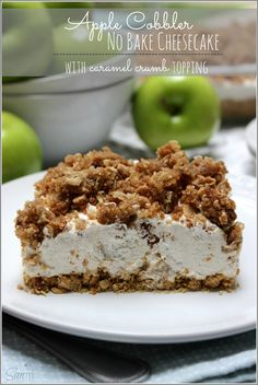 This Apple Cobbler No Bake Cheesecake with a caramel crumb topping combines two classic desserts, making one delicious treat perfect for any time of year. No Bake Desserts, Easy Desserts, Delicious Desserts, Dessert Recipes, Yummy Food, Apple Recipes, Sweet Recipes, Cheesecakes, Yummy Treats