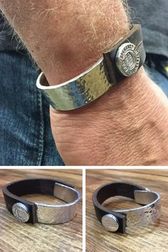 A bold silver and leather bracelet with that really cool hand-hammered style! Guy Jewelry, Mens Jewellery, Unique Jewelry, Jewelry Ideas, Handmade Jewelry, Silver Cuff, Silver Bracelets, Jewelry Bracelets, Silver Jewelry