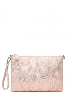 TURN IT UP ROSE GOLD METALLIC SNAKE CLUTCH BAG
