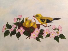 Finches with Apples blossoms Oil on canvas
