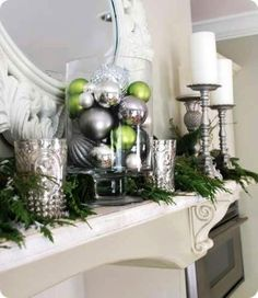A nice way to decorate the fireplace for the holidays.