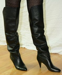 Nine West Over The Knee Black Leather High Heel Boots 9 Brazil late 80s vintage | eBay High Heel Boots, Heeled Boots, Vintage Boots, Fashion Boots, Nine West, Brazil, Black Leather, Heels, Ebay
