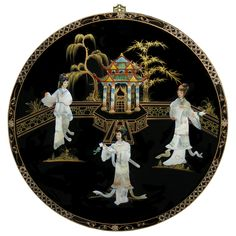 Mother of Pearl Round Wall Plaque. Asian wall decor.