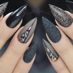 Cute Stiletto Nails With Matte Accents. If you are a passionate lover of a matte finish, have a look at these matte and cute stiletto nails. 1542658375 Best Black Stiletto Nails Designs for Your Halloween Black Nails black style # Black Nail Designs, Nail Art Designs, Nails Design, Pedicure Designs, Stiletto Nail Designs, Nails Inc, Gothic Nail Art, Nail Art Halloween, Halloween Makeup