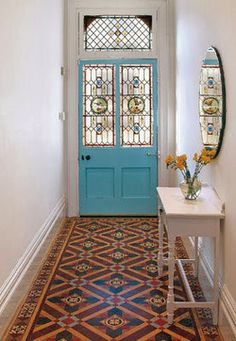 One day.... stained glass door and tiled floor