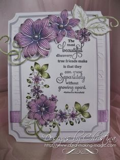 card by Christina Griffiths..... flowers & leaves colored with Spectrum Noir - colors used....  PL1,  PL2,  LV2, DG2, DG4