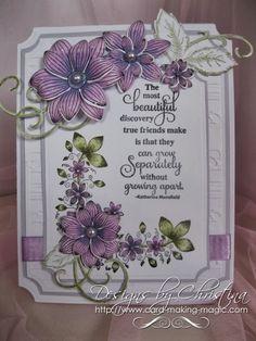 card by Christina Griffiths..... flowers & leaves colored with Spectrum Noir - colors used....  PL1,  PL2,  LV2, DG2, DG4