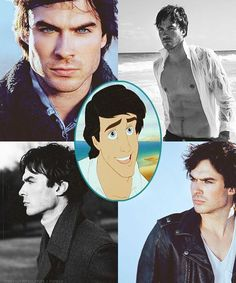 I think if they made little mermaid a live movie Ian Somerhalder would make a good Prince Eric ; Ian Somerhalder, Christian Grey, Prince Eric, Disney Princes, Raining Men, Stefan Salvatore, Vampire Diaries The Originals, Delena, Attractive Men