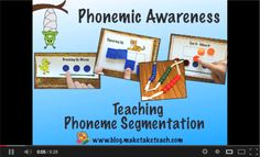 Teaching phoneme segmentation.  Video on what is phonemic awareness and 4 activities for teaching segmenting.