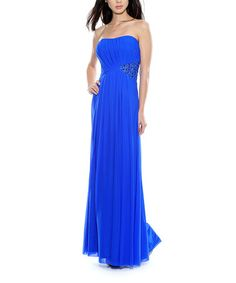 Take a look at this Royal Blue Embellished Strapless Dress - Women by Decode 1.8 on #zulily today!
