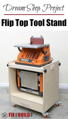 Learn how to build a Flip Top Tool Stand for your workshop! Use this cart for a planer and miter saw, sander and router, etc. and free up your workbench. Woodworking Projects Diy, Woodworking Shop, Wood Projects, Woodworking Plans, Woodworking Machinery, Workshop Storage, Tool Storage, Workshop Ideas, Storage Ideas