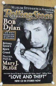 Original promo poster for Bob Dylan on the cover of Rolling Stone Magazine in 2001. 24 x 35.5 inches. Light handling marks, creases, corner bend and edge wear.