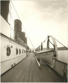 Boat deck, Cunard Line LUSITANIA - the ill fated ship now at the bottom of the sea.