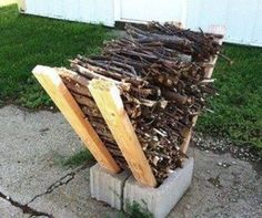 Inexpensive way to keep kindling & firewood of the ground at camp