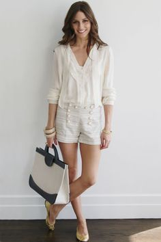 Today I have on a shirt from Comptoir des Cottoniers with shorts (I'm not sure where they are from!), gold flats from French Sole and a YSL ...