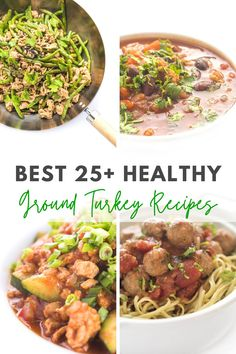 These 25 Healthy Ground Turkey Recipes are full of flavor and simple and quick to make! Ground Turkey Lettuce Wraps, Ground Turkey Stuffed Peppers, Ground Turkey Tacos, Healthy Ground Turkey, Ground Turkey Recipes, Turkey Soup, Turkey Dishes, Healthy Turkey Recipes, Ra Diet