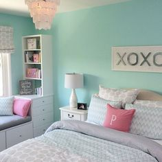 The colour of baby girl's walls is Sherwin Williams tame teal! Love!: