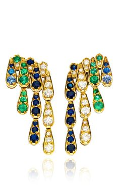 White Gold Earrings with White Diamonds, Emeralds And Blue Sapphires by Sabine G
