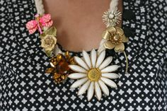 DIY necklace made from vintage brooches. I love this idea. I'd do it.