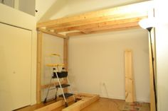 We then built our ladder for entering the loft using 2x4's for the steps and 2x6's for the sides
