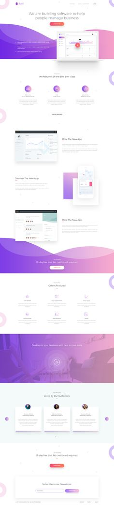 SaaS Software Landing Page designed by Rono. Connect with them on Dribbble; Website Design Layout, Homepage Design, Web Layout, Layout Design, Flat Web Design, Creative Web Design, App Design, Design Ideas, Ui Web