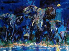 Leroy Neiman's art - painting, blue, art, night, dark, water, elephant, moon, leroy neiman