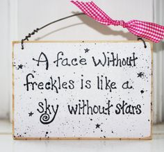 #Product# Freckle Face Wood Sign Room Bathroom Baby Shower Gift So Cute 3 x 5 inches Boy or Girl. $10.00, via Etsy.