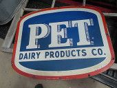 VINTAGE METAL SIGN PET DAIRY PRODUCTS CO 1959 OLD TIN BOTTLE ICE CREAM FARM COW
