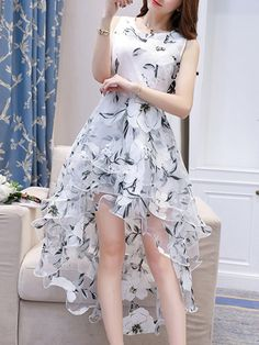 Round Neck High-Low Tiered Floral Hollow Out Skater Dress Party Wear Dresses, Day Dresses, Cute Dresses, Casual Dresses, Party Dress, Fashion Dresses, Prom Dresses, Long Dresses, Cheap Skater Dresses