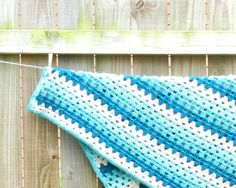 Sea Blue Crochet Baby Blanket by Femmesleigh on Etsy $45 blue ombre blanket afghan.